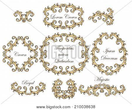 Set of vintage baroque engraving floral scroll filigree elements. Vector illustration.