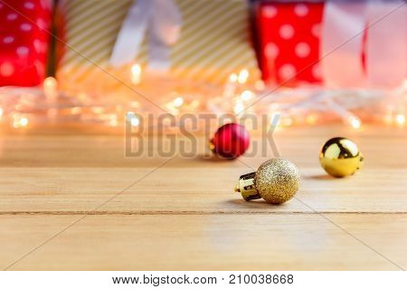 Gift Box Present And Decorate On A Wooden Table