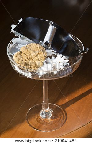 Wonderful White Truffle On A Glass Cup With Pedestal, With Truffles Cut In Silver Steel