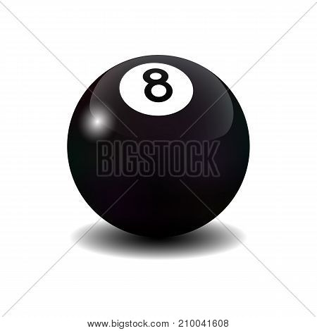 Vector realistic billiard eight ball isolated on white.
