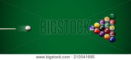 Vector realistic billiard strike. Colored billiard balls and cue on green table.