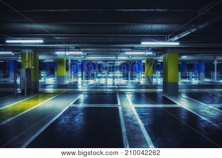 Close up on underground parking with empty slots