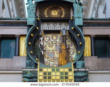 Anker Clock in Hoher Markt at Jewish quarter of old Vienna