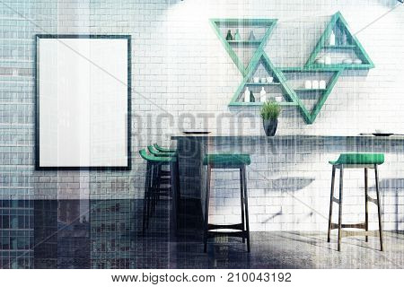 White Bar Interior, Stand And Shelves Double
