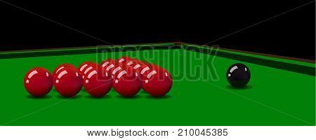 Snooker balls on the green table. Vector illustration