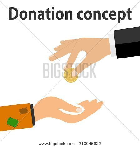 A hand with a coin donadion to the poor. The rich give poor alms. Flat design, vector illustration, vector