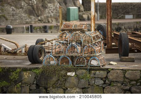 lobster pots on harbour at Carrickfergus north ireland