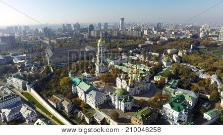 aerial view of Kiev-Pechersk Lavra at autumn