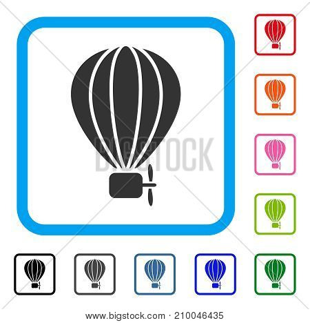 Aerostat Balloon icon. Flat gray iconic symbol in a light blue rounded frame. Black, gray, green, blue, red, orange color versions of Aerostat Balloon vector. Designed for web and software interfaces.