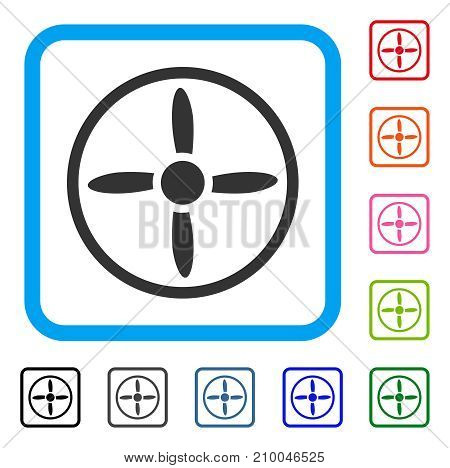 Air Screw icon. Flat grey iconic symbol in a light blue rounded rectangle. Black, gray, green, blue, red, orange color versions of Air Screw vector. Designed for web and application UI.