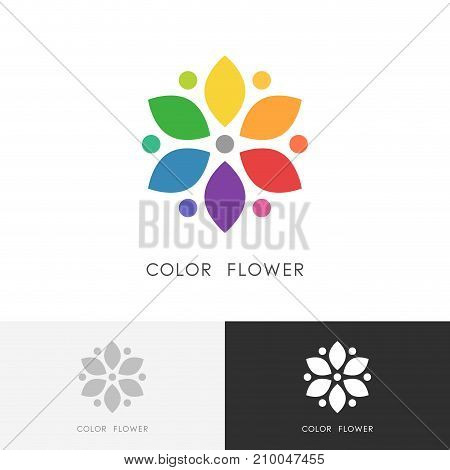 Color flower logo - bright colored blossom with petals or colour wheel symbol. Design, art and creativity vector icon.