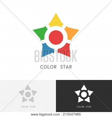 Color star logo - bright colored individuals with leader symbol. Teamwork, cooperation and personality vector icon.