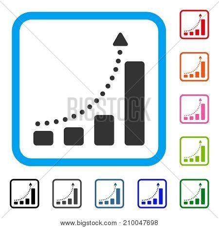 Bar Chart Trend icon. Flat gray pictogram symbol in a light blue rounded rectangular frame. Black, gray, green, blue, red, orange color variants of Bar Chart Trend vector.
