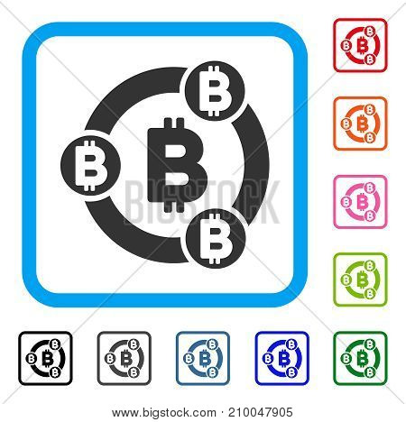 Bitcoin Collaboration icon. Flat gray iconic symbol in a light blue rounded frame. Black, gray, green, blue, red, orange color additional versions of Bitcoin Collaboration vector.