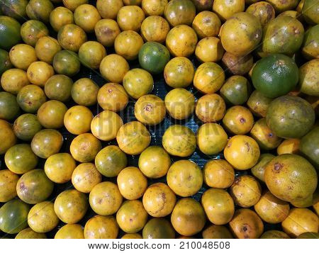 Citrus fruit, tangerine background. Fresh fruit at fruit market. Colourful, lively and freshness concept.