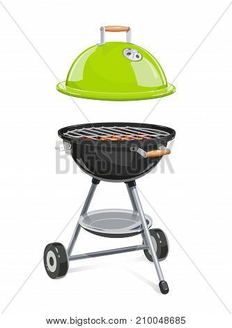 Kettle For barbecue with lid. Equipment for bbq. B-B-Q Accessory. Traditional Cooking Food on grill. Picnic rest. Isolated white background. Vector illustration.