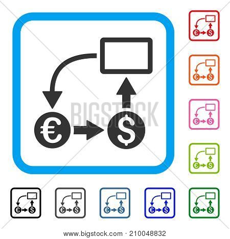 Cashflow Euro Exchange icon. Flat gray iconic symbol in a light blue rounded frame. Black, gray, green, blue, red, orange color versions of Cashflow Euro Exchange vector.