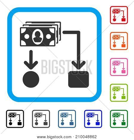 Cashflow icon. Flat gray pictogram symbol inside a light blue rounded rectangle. Black, gray, green, blue, red, orange color versions of Cashflow vector. Designed for web and application UI.