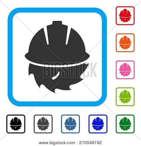 Circular Blade Safety icon. Flat grey pictogram symbol in a light blue rounded rectangular frame. Black, gray, green, blue, red, orange color variants of Circular Blade Safety vector.