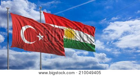 Turkey And Kurdistan Flags Wave Under A Blue Sky With Many White Clouds. 3D Illustration