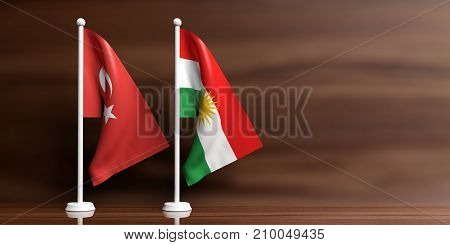 Turkey And Kurdistan Relations. Small Flags On Wooden Background. 3D Illustration