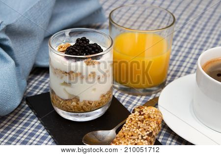 Yogurt and granola breakfast Homemade breakfast of yogurt and granola
