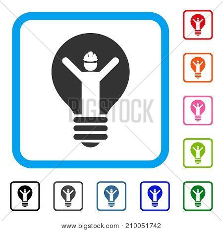 Electrician icon. Flat grey iconic symbol in a light blue rounded rectangle. Black, gray, green, blue, red, orange color versions of Electrician vector. Designed for web and app UI.