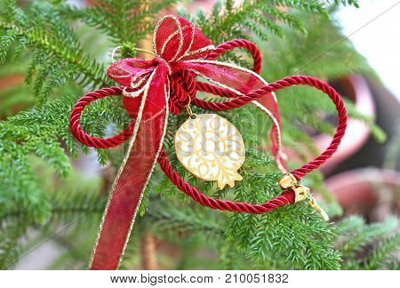 decorative Christmas ornament with lucky pomegranate - Christmas home decor