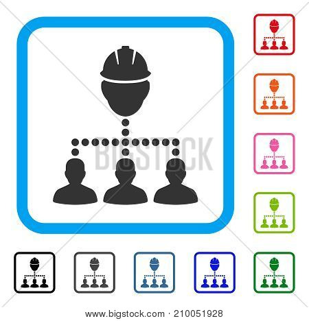 Engineer Staff Relations icon. Flat gray iconic symbol inside a light blue rounded rectangle. Black, gray, green, blue, red, orange color versions of Engineer Staff Relations vector.