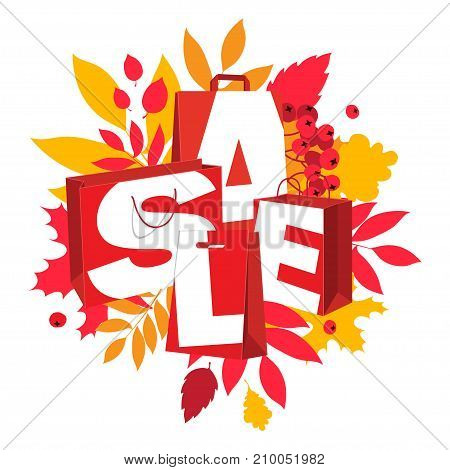 Big Autumn Sale Inscription Design. Fall Leaves Red Paper Bags