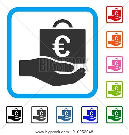 Euro Accounting Service icon. Flat grey pictogram symbol in a light blue rounded squared frame. Black, gray, green, blue, red, orange color versions of Euro Accounting Service vector.