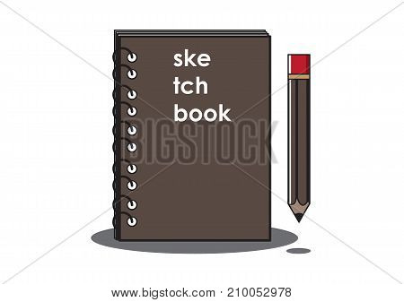 Vector or Illustration of Sketchbook and Pencil