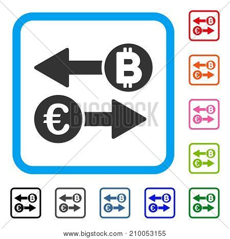 Euro Bitcoin Exchange icon. Flat grey iconic symbol inside a light blue rounded frame. Black, gray, green, blue, red, orange color versions of Euro Bitcoin Exchange vector.