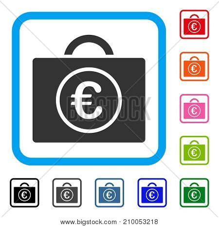 Euro Bookkeeping icon. Flat grey iconic symbol in a light blue rounded rectangular frame. Black, gray, green, blue, red, orange color versions of Euro Bookkeeping vector.