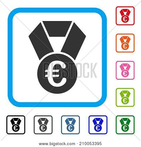 Euro Champion Medal icon. Flat grey iconic symbol inside a light blue rounded rectangular frame. Black, gray, green, blue, red, orange color additional versions of Euro Champion Medal vector.