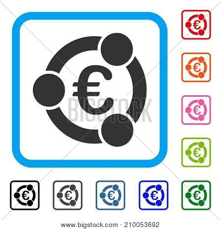 Euro Collaboration icon. Flat gray pictogram symbol in a light blue rounded squared frame. Black, gray, green, blue, red, orange color versions of Euro Collaboration vector.