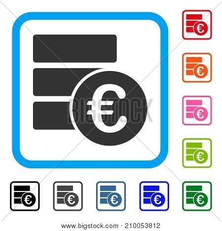 Euro Database icon. Flat gray pictogram symbol in a light blue rounded square. Black, gray, green, blue, red, orange color versions of Euro Database vector.