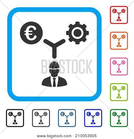 Euro Development Relations icon. Flat gray pictogram symbol in a light blue rounded frame. Black, gray, green, blue, red, orange color variants of Euro Development Relations vector.