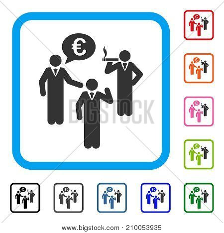 Euro Discuss People icon. Flat grey pictogram symbol inside a light blue rounded frame. Black, gray, green, blue, red, orange color variants of Euro Discuss People vector.