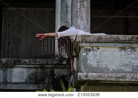 Zombie Ghost Woman Murder On Abandoned Building With Bloody
