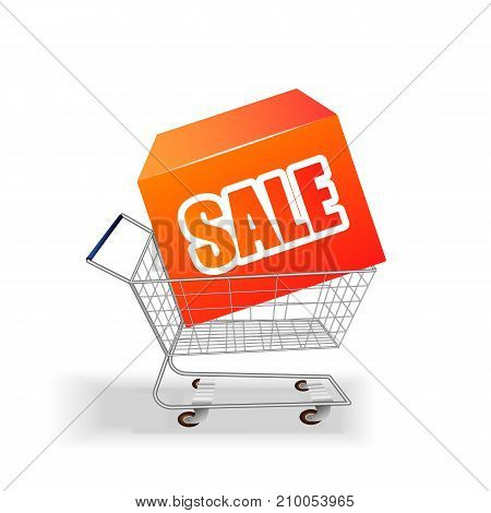 Shopping supermarket cart with box purchases and inscription sale. Vector illustration.