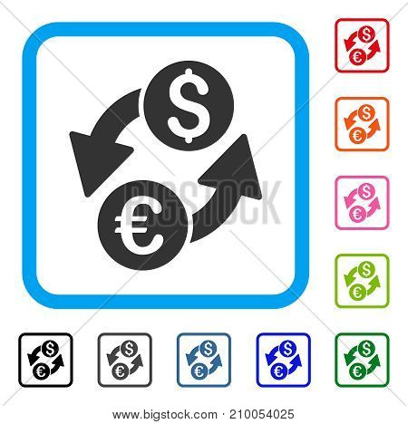 Euro Dollar Exchange icon. Flat gray iconic symbol inside a light blue rounded square. Black, gray, green, blue, red, orange color additional versions of Euro Dollar Exchange vector.