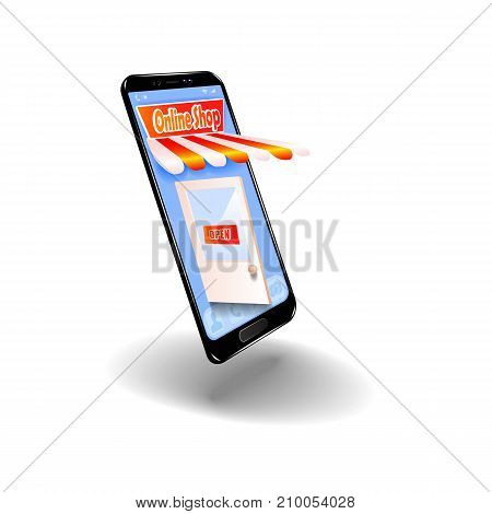 Online shopping in the online store on your smartphone. For your website design, poster. Vector illustration.