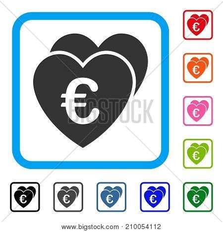 Euro Favorites Hearts icon. Flat grey iconic symbol in a light blue rounded rectangular frame. Black, gray, green, blue, red, orange color versions of Euro Favorites Hearts vector.