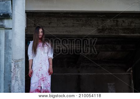Zombie Ghost Woman Murder With Bloody Stand On Abandoned Building