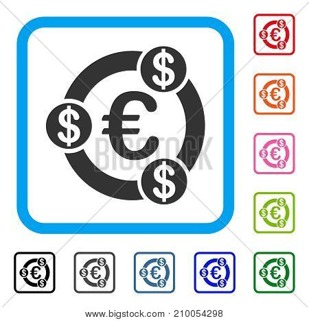 Euro Financial Collaboration icon. Flat grey iconic symbol in a light blue rounded square. Black, gray, green, blue, red, orange color versions of Euro Financial Collaboration vector.