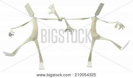 Paper man symbolic figure pose standing two with arms tied together 3d illustration horizontal isolated