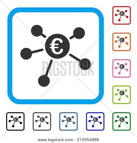 Euro Links icon. Flat grey iconic symbol in a light blue rounded rectangle. Black, gray, green, blue, red, orange color versions of Euro Links vector. Designed for web and software interfaces.