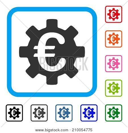 Euro Machinery Gear icon. Flat gray pictogram symbol inside a light blue rounded square. Black, gray, green, blue, red, orange color additional versions of Euro Machinery Gear vector.