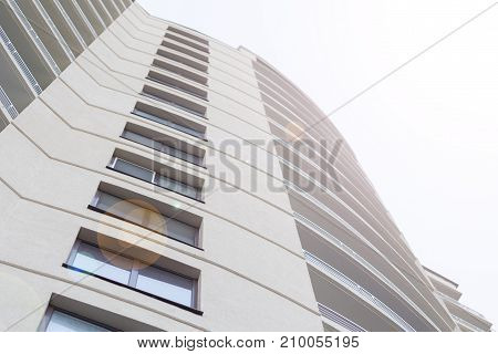 Wall If Modern High-rise  Building With Sky On The Background